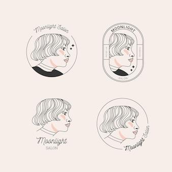 Coleção de logotipo desenhado à mão para cabeleireiro