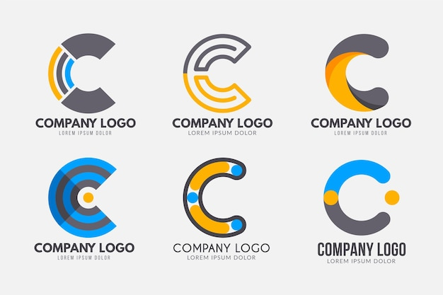 Coleção de logotipo design plano c