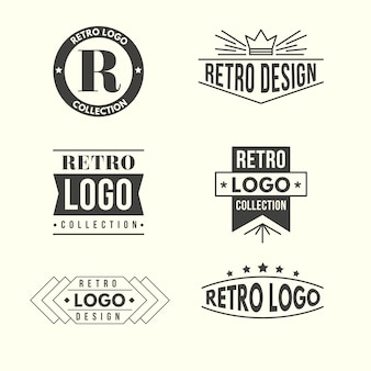Coleção de logotipo design retro