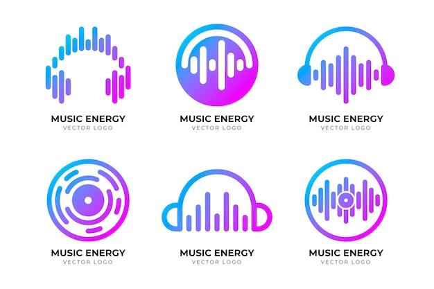 Coleção de logotipo dj gradiente moderno