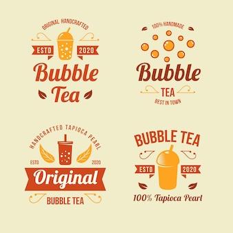 Coleção de logotipo do bubble tea