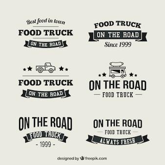 Coleção de logotipo do caminhão de alimentos do vintage