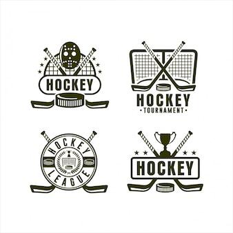 Coleção de logotipo do campeonato da liga de hóquei