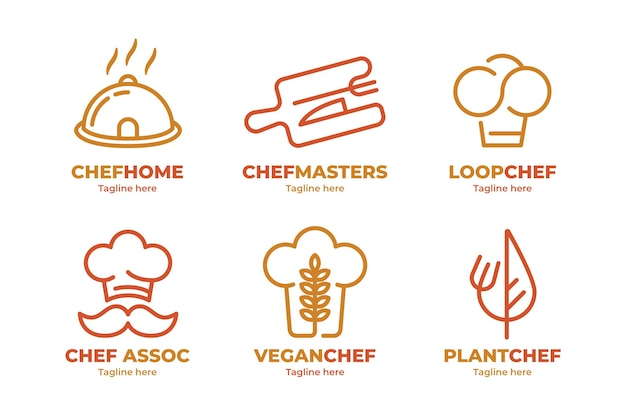 Coleção de logotipo do chef plano