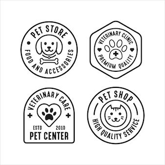 Coleção de logotipo do conjunto de loja de animais