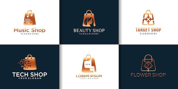 Coleção de logotipo do design da loja