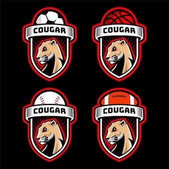 Coleção de logotipo do emblema esportivo cougar head