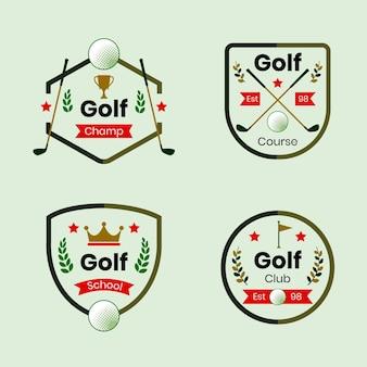 Coleção de logotipo do flat golf