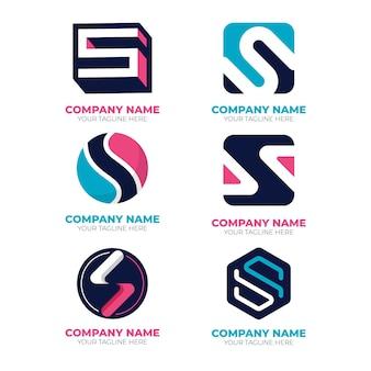 Coleção de logotipo do flat s