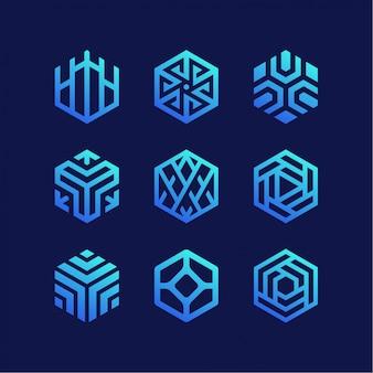 Coleção de logotipo do hexágono