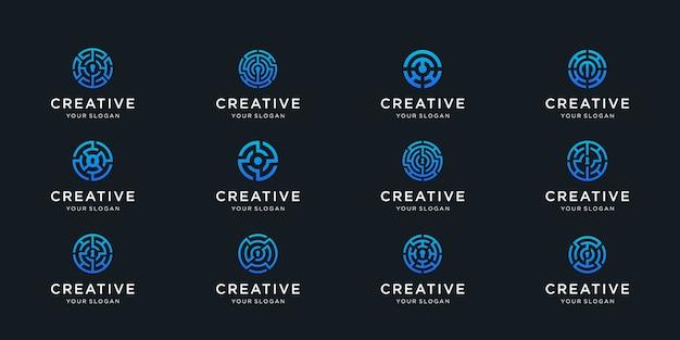 Coleção de logotipo do labirinto labirinto