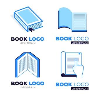 Coleção de logotipo do livro de design plano azul