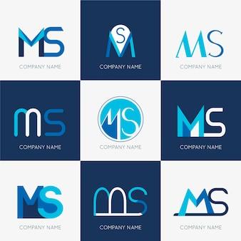 Coleção de logotipo do ms de design plano