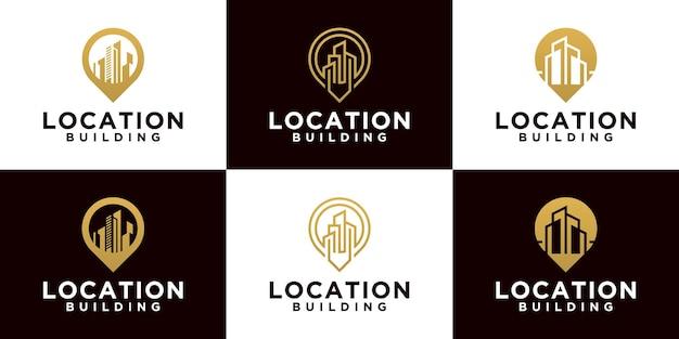 Coleção de logotipo do projeto de localização do edifício