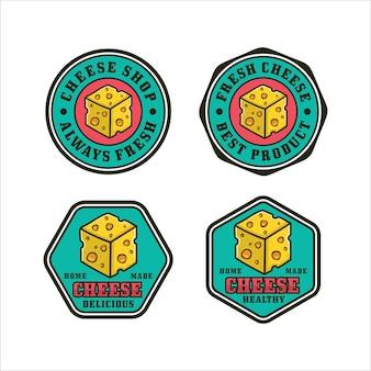 Coleção de logotipo do projeto do emblema do queijo