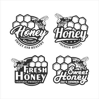 Coleção de logotipo do projeto honey bee