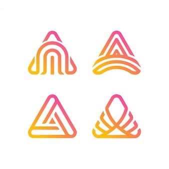 Coleção de logotipo do triângulo