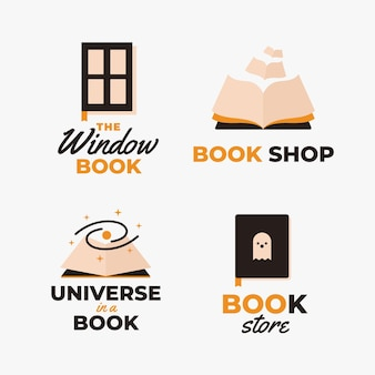 Coleção de logotipo do universo de livro plano