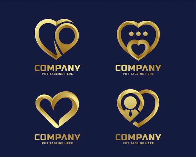 Coleção de logotipo dourado amor coração criativo