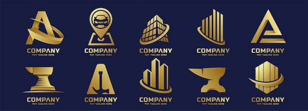 Coleção de logotipo dourado de negócios