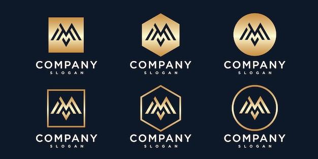 Coleção de logotipo dourado inicial com letra m