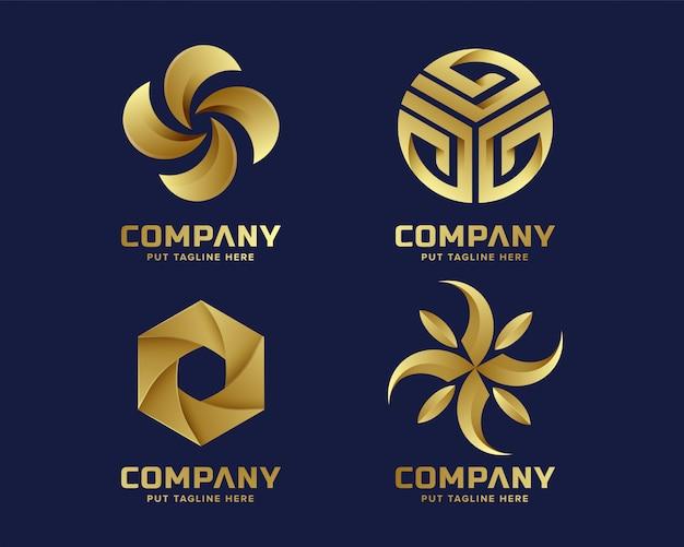 Coleção de logotipo dourado negócios abstratos