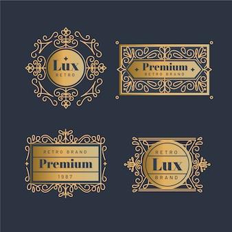 Coleção de logotipo dourado retrô de luxo