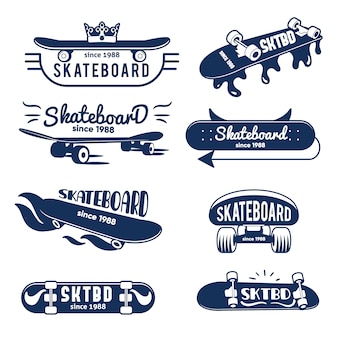 Coleção de logotipo e emblemas do skate de hipster