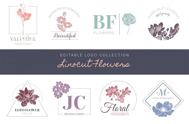 Coleção de logotipo editável - flores de linocut