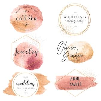 Coleção de logotipo elegante para planejadores de casamento e fotógrafos