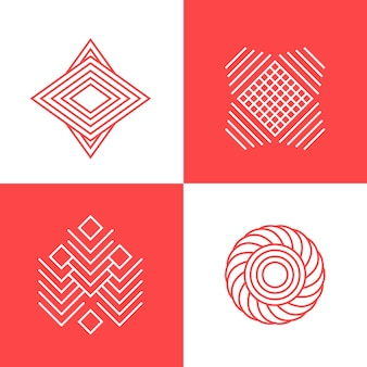 Coleção de logotipo em estilo linear