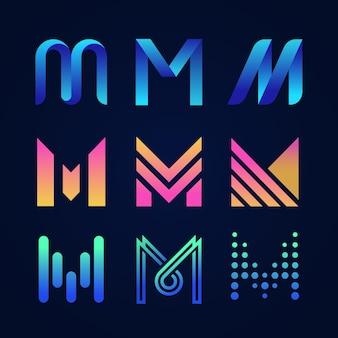 Coleção de logotipo em inglês letra m
