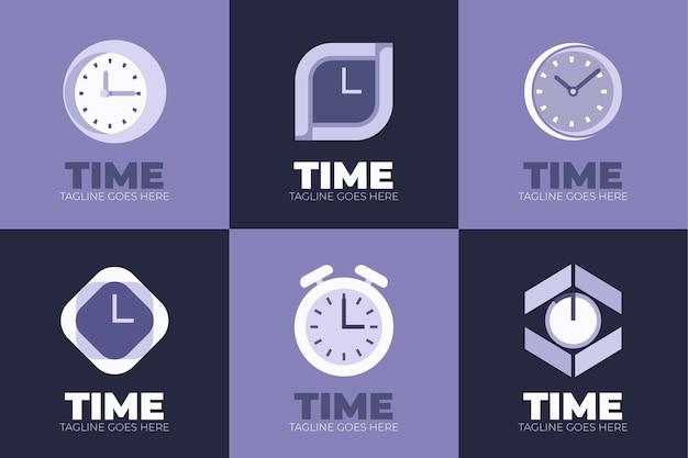 Coleção de logotipo em tempo plano