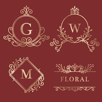 Coleção de logotipo emoldurada de ouro