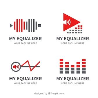 Coleção de logotipo equalizador com design plano