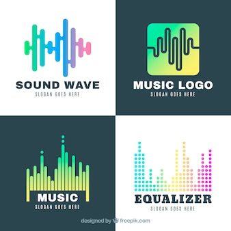Coleção de logotipo equalizador com estilo gradiente