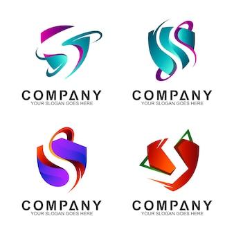 Coleção de logotipo escudo letra s negócios