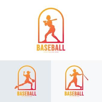 Coleção de logotipo esportivo de beisebol