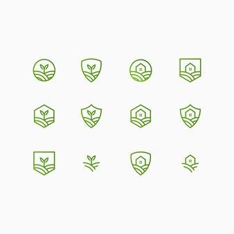 Coleção de logotipo fazenda e casa