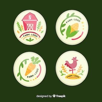 Coleção de logotipo fazenda mão desenhada