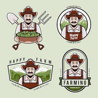 Coleção de logotipo fazenda plana