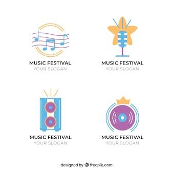 Coleção de logotipo festival de música com design plano
