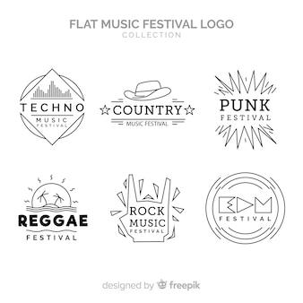 Coleção de logotipo festival de música plana