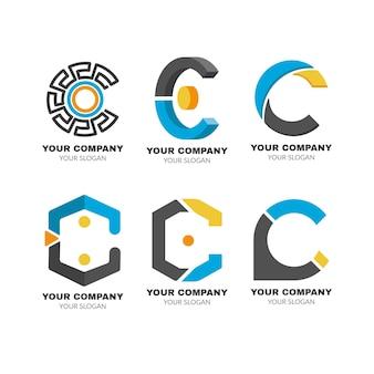 Coleção de logotipo flat c