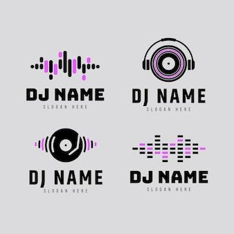 Coleção de logotipo flat dj