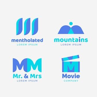 Coleção de logotipo flat m