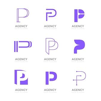 Coleção de logotipo flat p