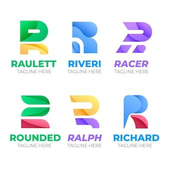 Coleção de logotipo flat r