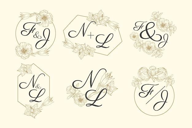 Coleção de logotipo floral casamento