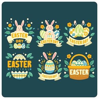 Coleção de logotipo fofo de dia de páscoa